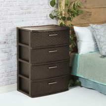Sterilite 4 Drawer Wide Weave Tower Espresso - £38.15 GBP