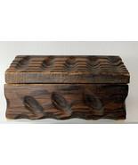 Vintage Rustic Hand Carved Wooden Jewelry or Trinket Box raised grain - $17.82