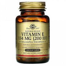 2 Pack Vitamin E Solgar Natural Source 200 IU 100 Softgels Free Shipping - $28.69
