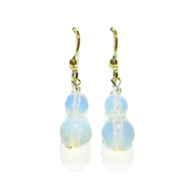"1/2"" Opalite Double Bead 14k Gold Drop Earrings - $14.99"