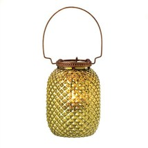 Small Gold-Green Diamond Glass Candle Lantern - $7.52