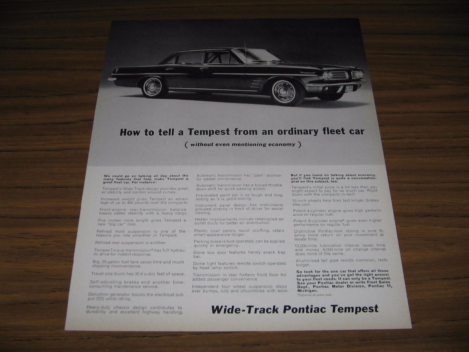 Primary image for 1963 Print Ad Wide-Track Pontiac Tempest Fleet Cars Pontiac,MI