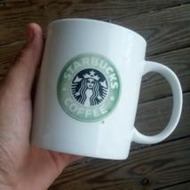 "Starbucks Coffee Mug 1999 White Green Siren Mermaid Logo 14 oz Glossy 4""... - $17.70"