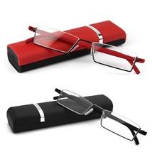Reading Glasses With Case Flexible Black Half Frame Semi Rimless - $8.45