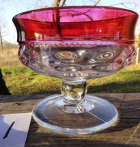 King's Crown Sherbet/Dessert dish Thumbprint Cranberry Indiana Glass (1) - $7.91
