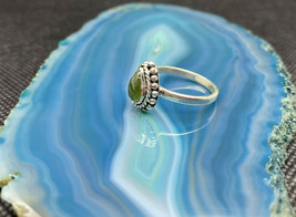 Amazing Peridot Crystal Sterling Silver Ring Size 8 - $34.53