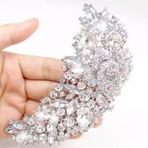 Tuliper Flower Rose Rhinestone Brooch Pins For Bridal Austrian Crystal S... - $27.02