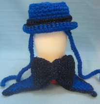 Pet Sets Dog Cat Top Hat & Bow Tie Collar Blue Sparkles Handmade Crochet by Bren - $15.00