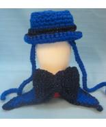 Pet Sets Dog Cat Top Hat & Bow Tie Collar Blue Sparkles Handmade Crochet... - $15.00
