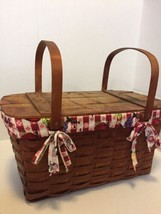 """Vintage Woven Wooden Rustic Picnic Basket Checker Print Lining L 22"""" W 11"""" Prop - $98.01"""