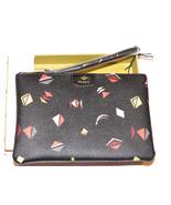 Fossil SL6821016 Gift Print Wristlet Black Multi pouch wallet PVC NWT*^ - $27.22