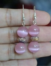 Handmade Pink Cat Eye Raisin Bead Silver Plated Dangle Earring - £8.40 GBP