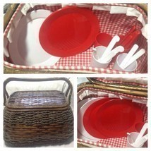 Wicker Picnic Basket LARGE Lined,  COMPLETE Serving Four-Picnic Ware - £32.20 GBP