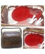 Wicker Picnic Basket LARGE Lined,  COMPLETE Serving Four-Picnic Ware - £31.98 GBP
