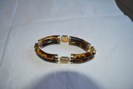 Vintage Tiger Eyes (8 stones) Link Bracelet With Chinese Characters-1960's - $49.99