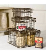 Farmhouse SET OF THREE(3) NESTING WIRE BOXES BASKETS Rustic Country Prim... - $100.00