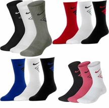 3 Pair Boys Girls Nike Kids Cotton Crew School Socks Black White Grey Sw... - $13.76