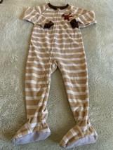 Child Of Mine Boys Brown White Striped Monkey Fleece Long Sleeve Pajamas 3T - $5.95
