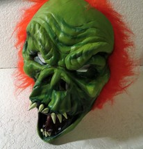 Red Haired Green Face Demon Monster Mask Paper Magic Group Scary Halloween - $24.31