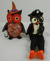"2 Halloween Owls Witch Pirate Resin 4"" - $16.82"