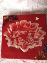 "Mikasa BonBon Plate Holiday Landscape Christmas Story Crystal 9 3/4"" Cle... - $12.59"