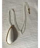 Vintage Monet Marked White Painted Chain w Large Plastic w Goldtone Tear... - $14.89