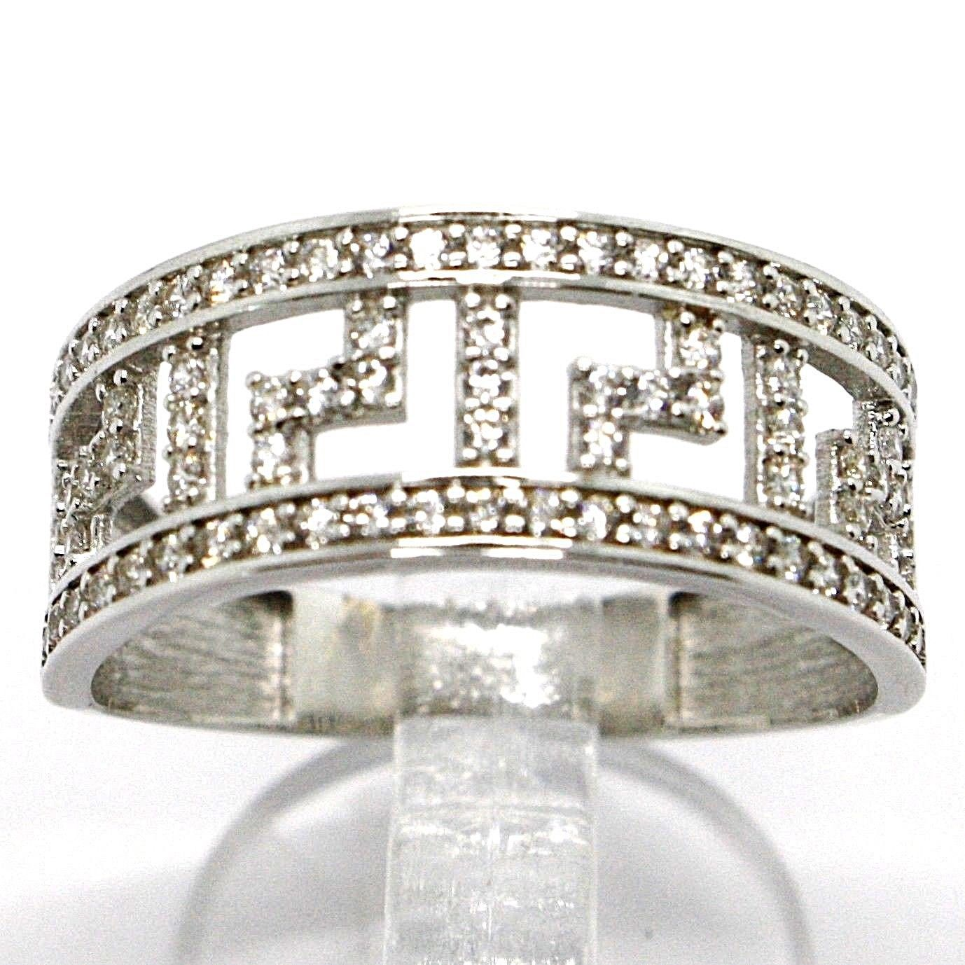 SOLID 18K WHITE GOLD BAND RING WITH ZIRCONIA, BINARY, GREEK, MADE IN ITALY