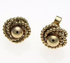 Vintage 9 Carat Gold Coiled Bead Rope Stud Earrings 10 mm Diameter. - $111.29