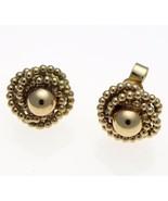 Vintage 9 Carat Gold Coiled Bead Rope Stud Earrings 10 mm Diameter. - $111.29