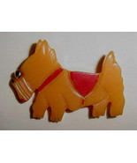 Vintage Butterscotch & Red Bakelite Scottie Dog Pin Brooch Googly Eye - $135.00