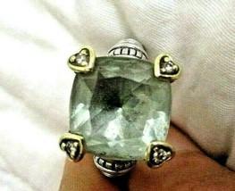 Judith Ripka 18K Gold 925 Silver Diamond Prasiolite FONTAINE RING Sz 7 G... - $194.95