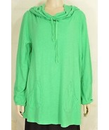 Fresh Produce top L knit long sleeve kelly green hoodie pockets long USA 29 - $49.49