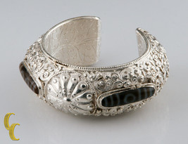 Sterling Silver Cuff Bracelet with Brown White Stones Vines Swirls & Dra... - $826.64