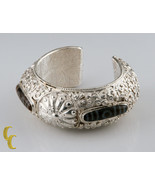 Sterling Silver Cuff Bracelet with Brown White Stones Vines Swirls & Dragons - $826.64
