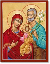"""Holy Family, Portrait Style Icon 4.5"""" x 6"""" Wooden Plaque With Lumina Gold - $36.95"""