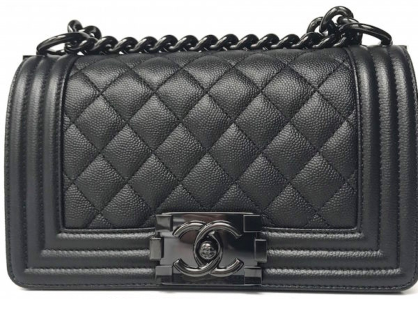 c2d33e574633 BNIB AUTHENTIC CHANEL 2017 Caviar Quilted Small Boy Flap So Black ...