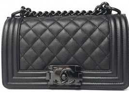 BNIB AUTHENTIC CHANEL 2017 Caviar Quilted Small Boy Flap So Black RARE