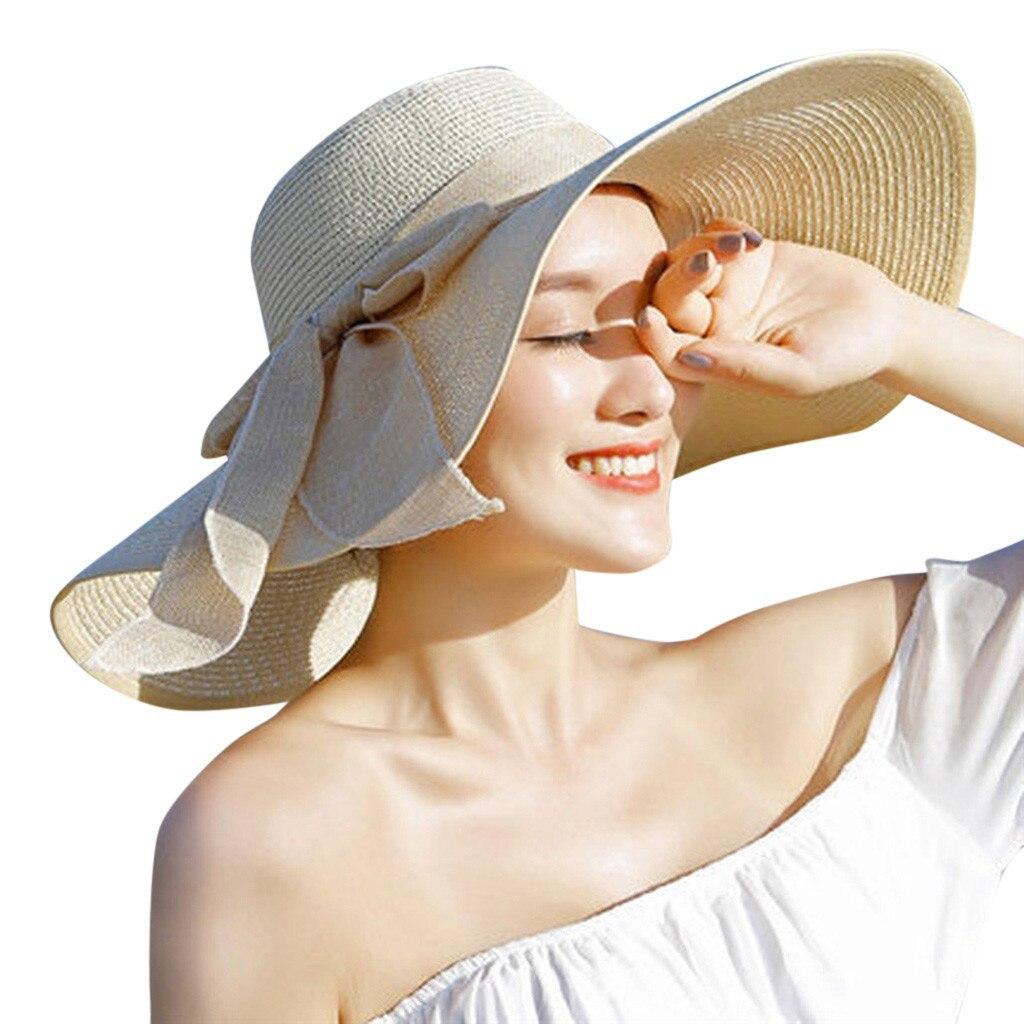 CHAMSGEND Women Big Brim Straw Hat Sun Floppy Wide Brim Hats New Bowknot Folding image 5