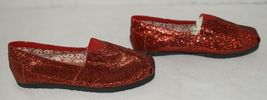 Vintage Elena01 Slip On Flat Rubber Sole Red Glitter Size 5 And Half image 3