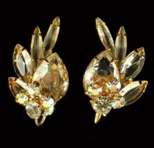 VINTAGE JULIANA AB RS CRYSTAL BIG RHINESTONE CLIP BACK EARRINGS STUNNING! - $80.99