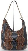 GUCCI Shoulder Bag Hobo SOHO Leather Python Blue Brown Cream Gold HW - $2,778.75
