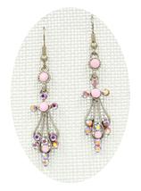 Fabulous new Lt Rose crystal silver angel cross drop pierced earrings - ₹1,439.52 INR