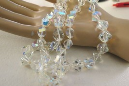 Crystal Necklace Faceted Beads Hand Knotted Chunky Double Strand Aurora Borealis - $19.79