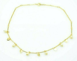 Faux Pearl Heart Dangle Gold Tone Choker Dainty Necklace Vintage - $19.79