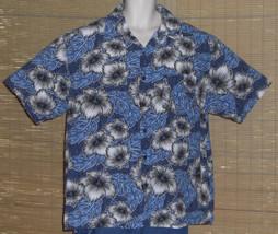 Gotcha Hawaiian Shirt Blue Gray White Black Flowers Leaves Size XL - $23.99