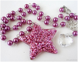 Magenta Glitter Star Necklace, Beaded Pearl Necklace, Silver Plated - Gy... - $18.50
