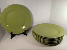 "Royal Norfolk Set of 9 Lime Green Ribbed Dinner Plates Approx 10 & 7/8ths"" Wide - $56.05"