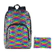HeySun Reversible Sequins Bookbag Backpack Magic Travel Sequence Backpack with P