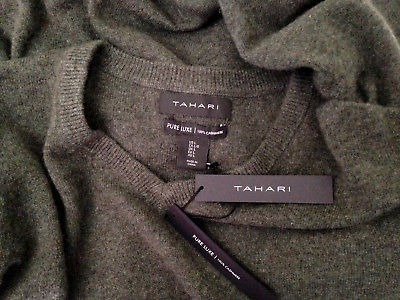 Primary image for NWT Tahari Pure Luxe 100% Cashmere Men's Handsome Green V Neck Sweater L $245