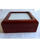 Jewelry Box High Gloss Cherry Finish  hinged velvet lined personalize 6 ... - $9.70